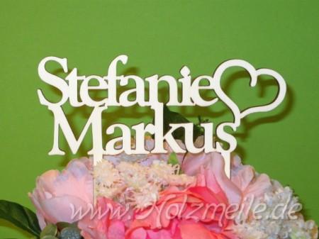 Blumen- / Tortenstecker Namen mit Herz aus Holz