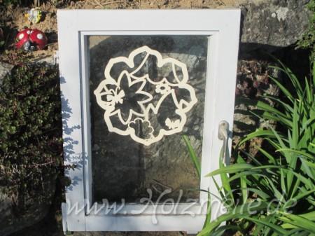 Fensterbild Blumentraum aus Holz