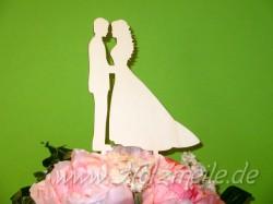Blumen- / Tortenstecker Brautpaar aus Holz