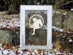 Fensterbild Engel Bastian Sternenkreis aus Holz