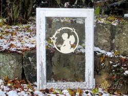Fensterbild Engel Ina Sternenkreis aus Holz
