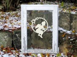 Fensterbild Engel Leon Sternenkreis aus Holz