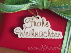 """Holz-Geschenkanhänger """"Frohe Weihnachten"""""""