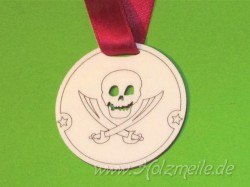 Holz-Medaille Pirat