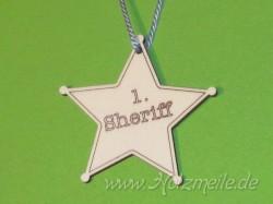 Holz-Medaille Sheriffstern
