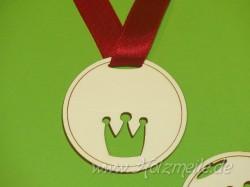 Holz-Medaille Krone Blanko