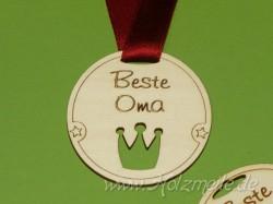 "Holz-Medaille Krone ""Beste Oma"""