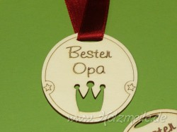 """Holz-Medaille Krone """"Bester Opa"""""""