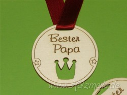 """Holz-Medaille Krone """"Bester Papa"""""""