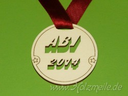 "Holz-Medaille ""ABI"" gestanzt"