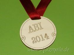 """Holz-Medaille """"ABI"""" gestempelt"""
