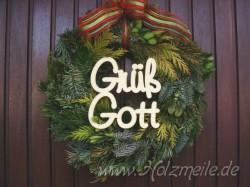 """Holz-Schriftzug """"Grüss Gott"""""""